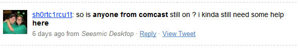 Twitter- comcast anyone here