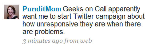 Twitter - customer complaint