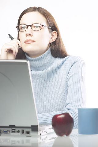 Woman computer with apple