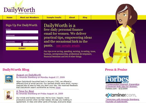 Dailyworth home page
