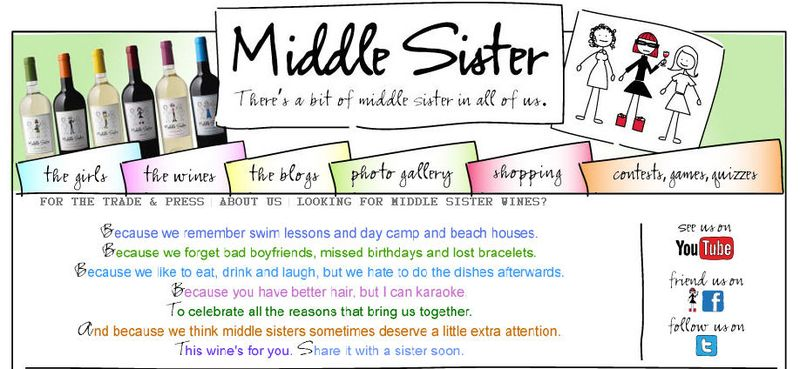 Middle Sister Wine home page top