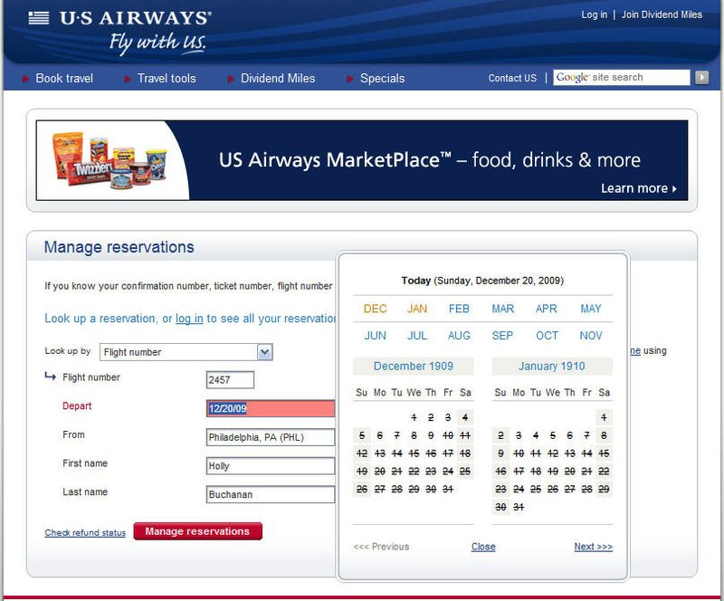 Us airways calendar whole page