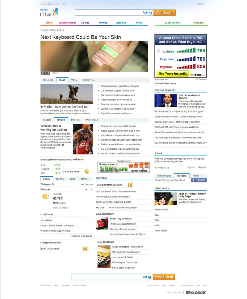 MSN new home page full
