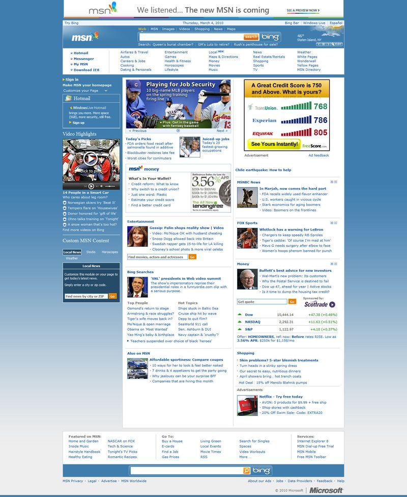 MSN - old home page